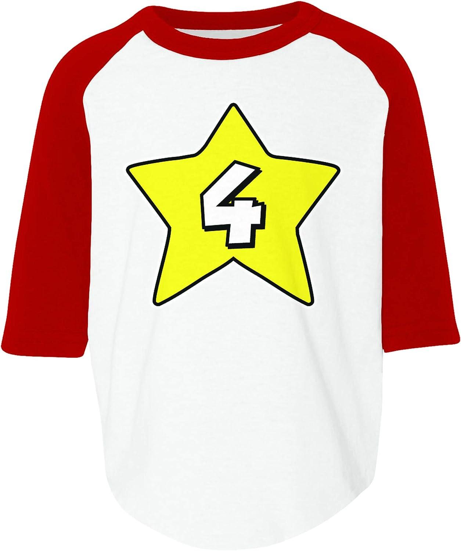 Amdesco 4th Birthday 4 Years Old Toddler Raglan Shirt