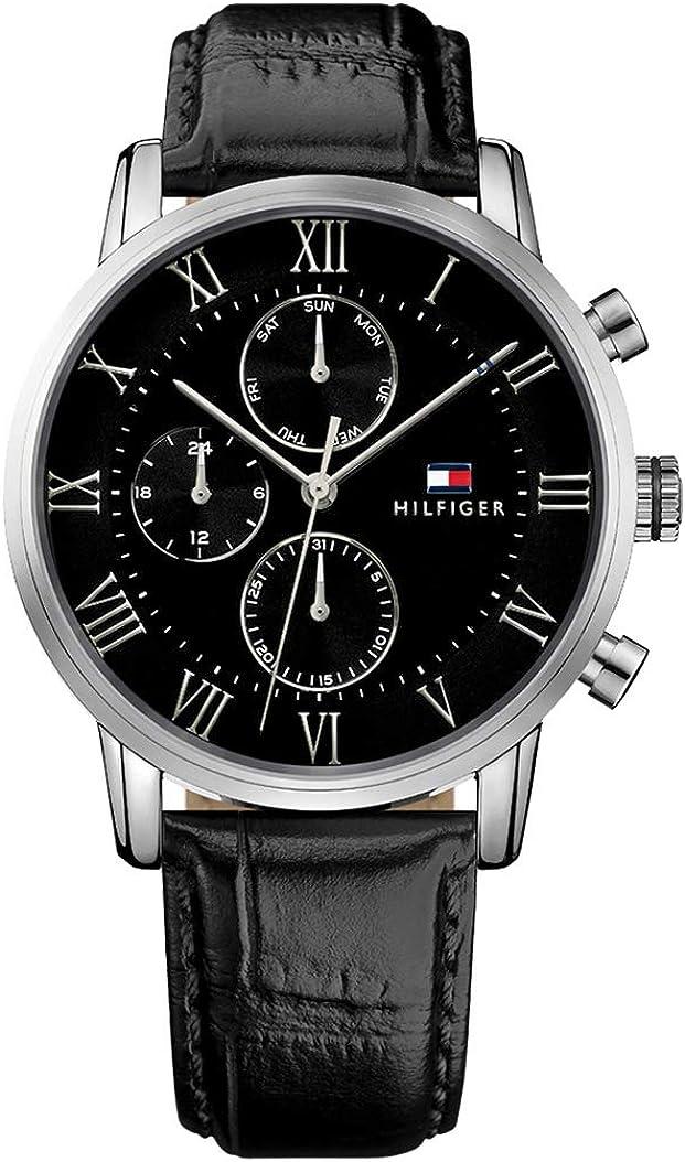 Tommy Hilfiger Reloj Multiesfera para Hombre de Cuarzo con Correa en Cuero 1791401