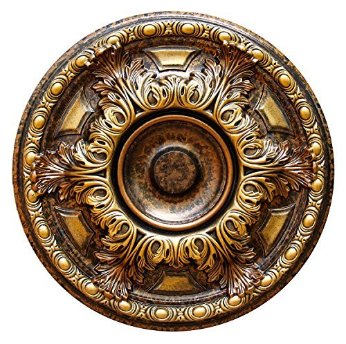 Fine Art Deco ''Golden Cup'' Hand Painted Ceiling Medallion 19 In. Finished in Antique Bronze and Olympic Gold