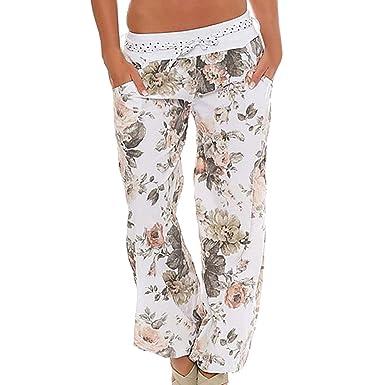 Wenyujh  Femmes Pantalon Bouffant Sarouel Aladin Harem Pantalon Yoga Jambe  Large Imprimé Floral avec Ceinture 8cb4b05bd470