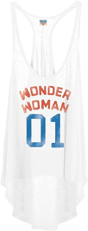 Junk Food Wonder Woman 01 Juniors White Tank Top