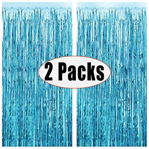 Party De Frozen (FECEDY 2pcs 3ft x 8.3ft Light Blue Metallic Tinsel Foil Fringe Curtains Photo Booth Props for Birthday Wedding Engagement Bridal Shower Baby Shower Bachelorette Holiday Celebration Party)