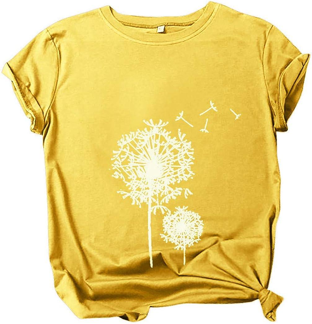 Oasisocean Women Shirts Girls Tees Fashion Casual O-Neck Pullover Dandelion Print Short Sleeve T-Shirt Blouses Tops
