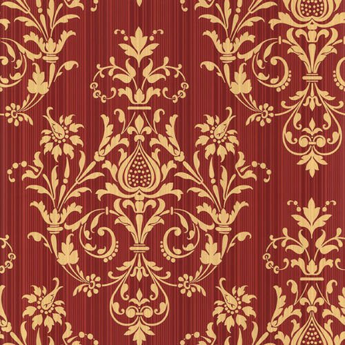 (Norwall CS27362 Red and Gold Damas Prepasted Wallpaper, 20 1/2
