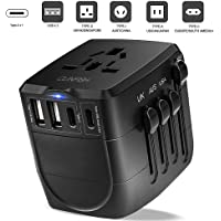 universal travel adapter :International Power Adapter: Worldwide All in One AC Outlet Power Plug Adapter 3 USB + 1 Type C Charging Ports for UK USA AUS EU, power converters for international travel