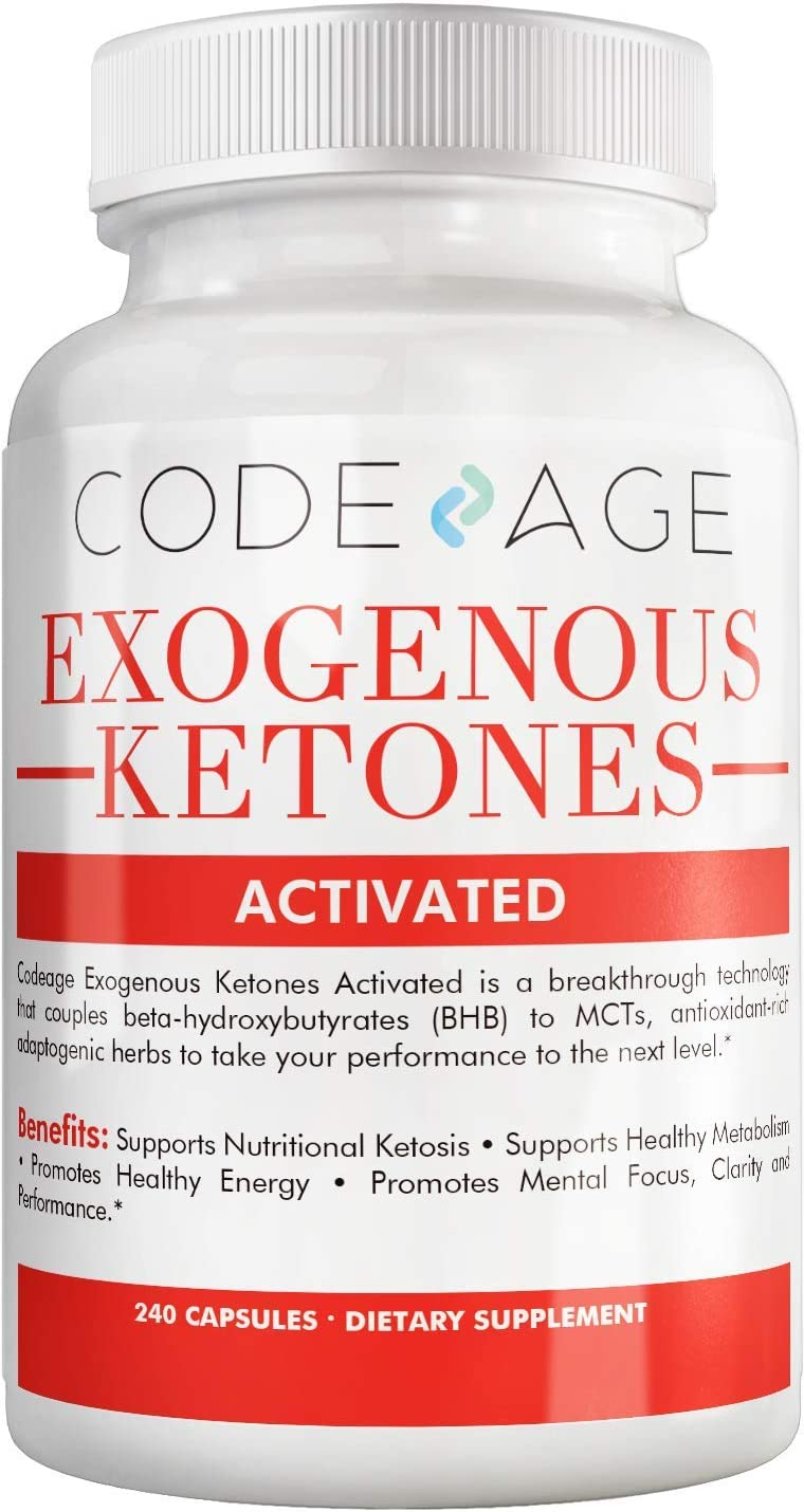 Codeage Keto BHB Exogenous Ketones Supplement Pills w. BHB Salts, Natural Caffeine, Electrolytes, MCTs Adaptogens – Keto BHB Oil Capsules Beta Hydroxybutyrate, Keto Vitamins Keto Salts, 240 Capsules