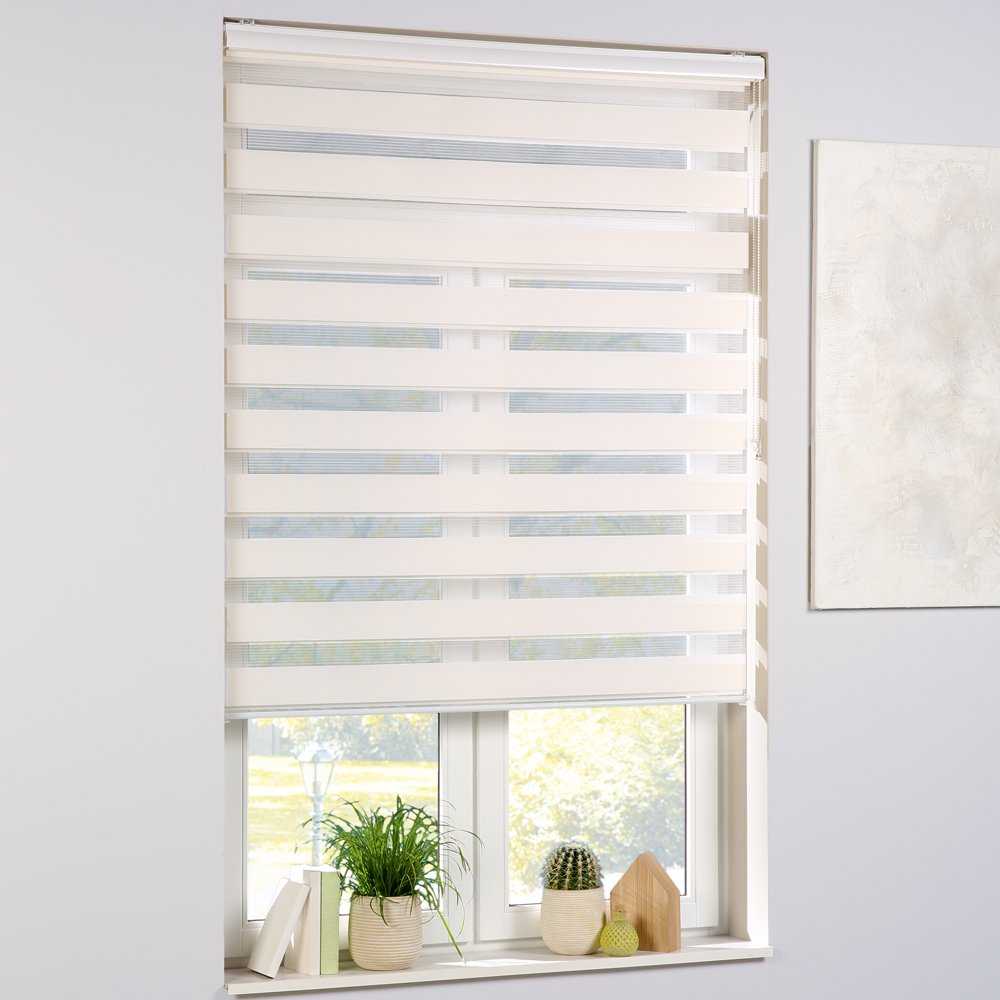 Without Drilling Double Window Blind Size:60 x 160 cm Colour:Cream Aluminium Clamping Brackets and Side Chain PROHEIM Day and Night Blind Roller