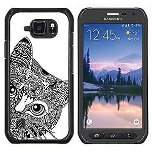 LECELL--Funda protectora / Cubierta / Piel For Samsung Galaxy S6Active Active G890A -- Arte Negro Blanco Ojos de Giro --