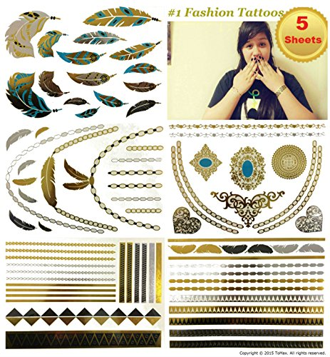 Metallic Gold Silver Black Jewelry Temporary Bling Tattoo All-In-One Package 5 Sheets (Style#1) (Tribal Print Tattoos)
