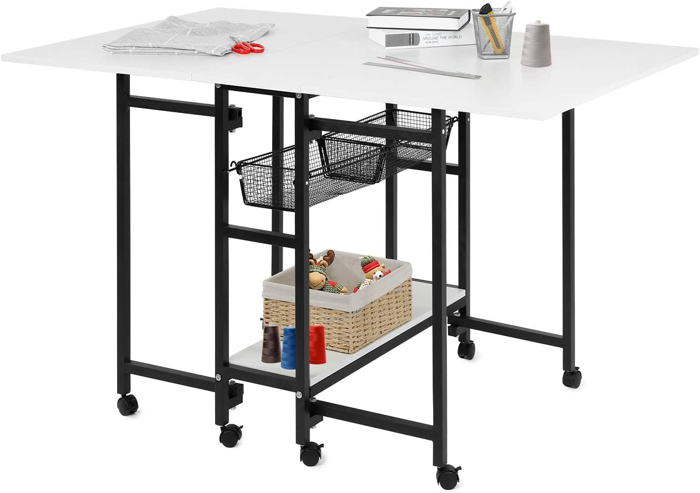 """HOMFY Foldable Craft Cutting Table for Adult Adjustable Home Hobby Table with Storage White 58.5/""""35.4/"""""""