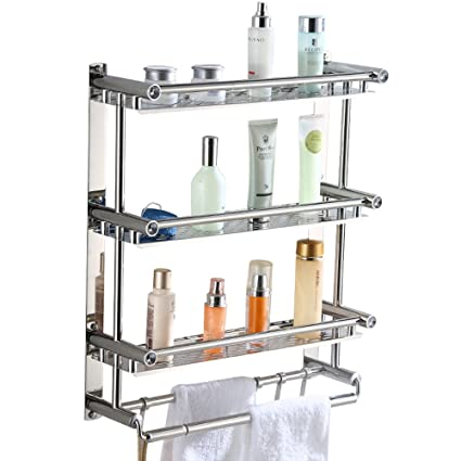 Bathroom Shelf Rack,AIYoo Bathroom Shelves Towel Rack With Hooks,3 Tier  Wall Mounted