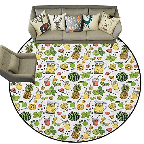 Tropical,Carpet Flooring Summer Holiday Pattern with Fruits and Cocktails Refreshments Juice and Drinks D54 Soft Area Rug for Children Baby