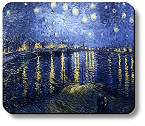 Decorative Mouse Pad Art Print Van Gogh Starry Night Over Rhone River by icecream design