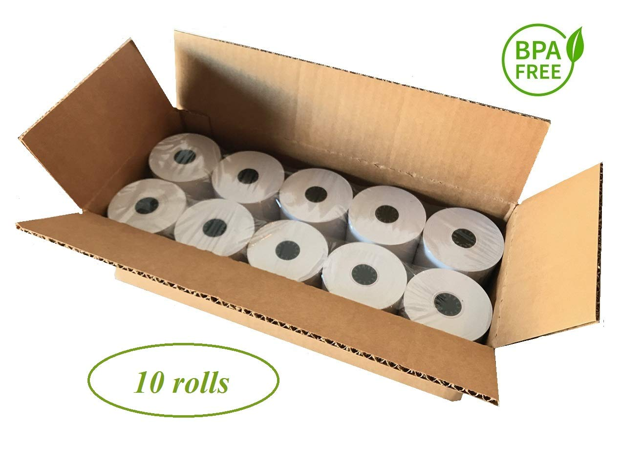 BAM POS, Thermal Paper Rolls, 3-1/8'' x 230 ft, Pack of 10 - Value Pack by BAM POS