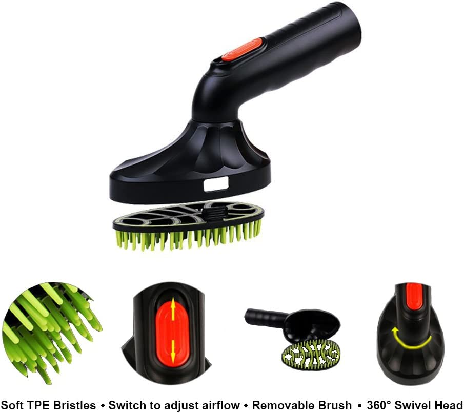 Pet Hair Brush. Vacuum Cleaner Nozzle Attachment Grooming Tool (with Universal Adapter, 32-35 mm). Genuine Green Label Product