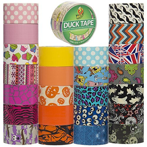 Duck and Scotch Brand Duct Tape Set (15 Assorted Rolls) Colored Duct Tape Multi Pack, Duct Tape Bulk Lot For Duct Tape Designs, DIY Crafts