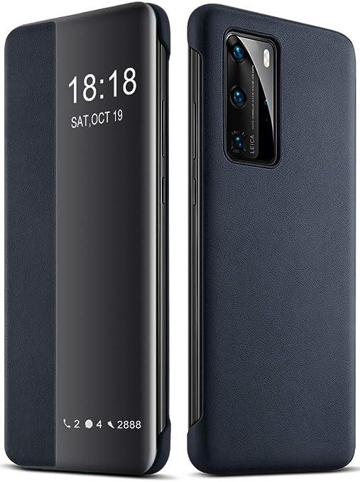 Eudth Huawei P40 Pro Hülle Flip Cover Smart View Window Case Schutzhülle Pu Leder Handyhüllen Für Huawei P40 Pro 6 58 Blau Elektronik