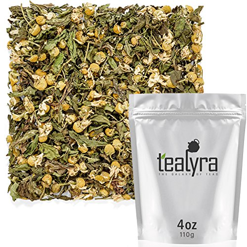 (Tealyra - Chamomile and Spearmint - Herbal Loose Leaf Tea - Calming and Relaxing Tea - Caffeine-Free - 100% Natural Ingredients - 110g (4-ounce))