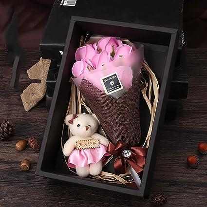 Regalo de navidad Caja de regalo de flor de jabón de San Valentín 7 Oso flor eterna: Amazon.es: Belleza