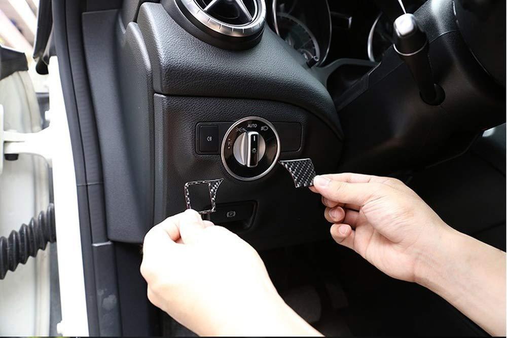 Tianrui Crown Real Carbon Fiber Headlight Adjustment Button Trim Stickers for Mercedes Benz A W176 B W246 C W204 E W212 E350 GLK X204 GL ML