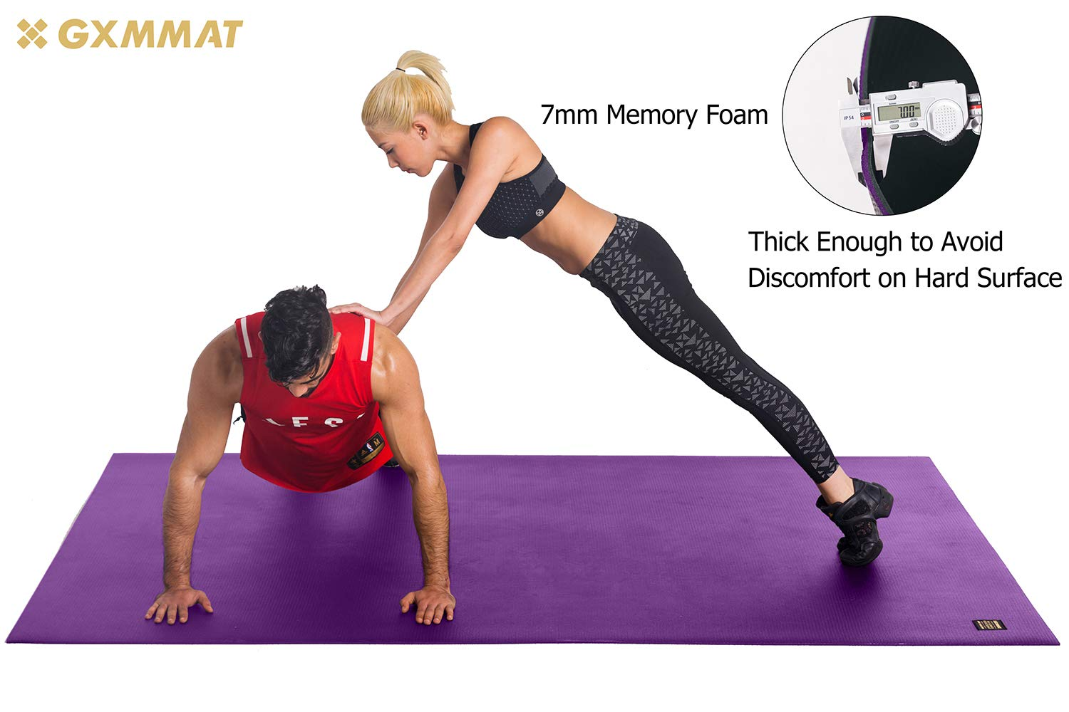 Gxmmat Extra Large Exercise Mat 6'x8'x7mm for Home Gym Flooring, Ultra Durable Cardio Workout Mats Non-Slip,Non-Toxic, Ideal for MMA, Plyo, Jump, All-Purpose Fitness by Gxmmat (Image #4)