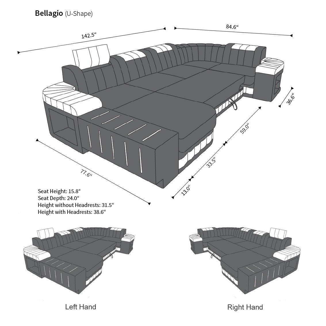 Astounding Big Fabric Sectional Sofa Bellagio U With Led Amazon Ca Beutiful Home Inspiration Aditmahrainfo