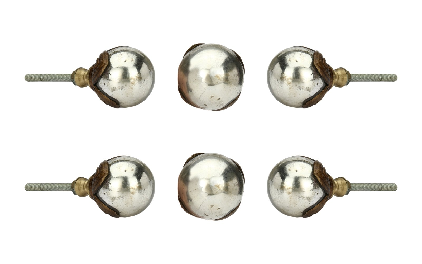 Set of 6 Silver Antique Knobs Kitchen Cabinet Cupboard Door Knobs Dresser Wardrobe and Drawer Pull 2.16 gm By Perilla Home