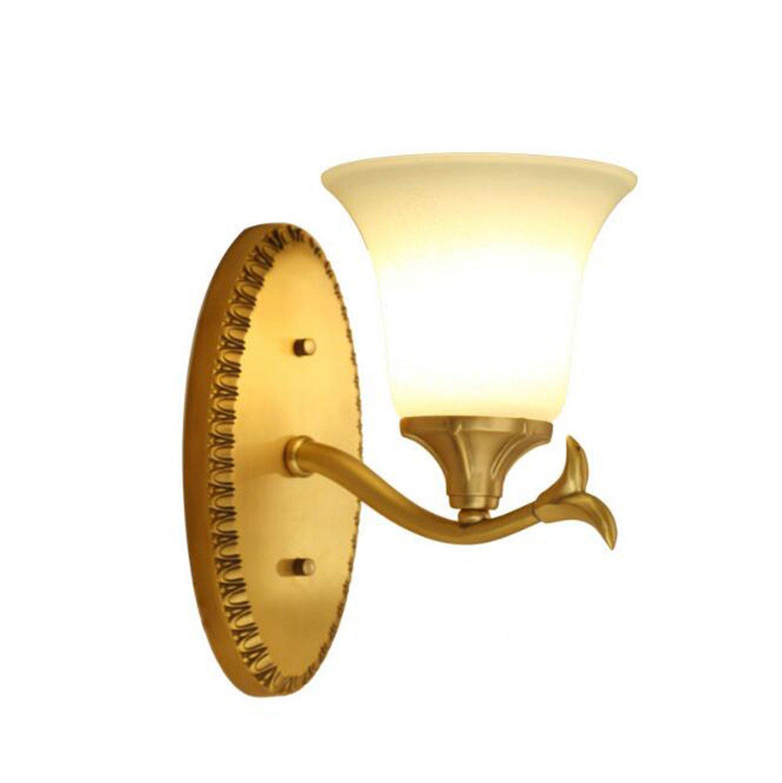 Onfly American Modern Single/double Head Wall Lamp Copper + Glass Mirror Lamp E27 Petal Shape Bedroom Bedside Bracket Light Mirror Headlights Outdoor Lights (Without Bulb) (Style : Single head)