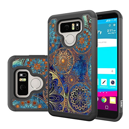LG G6 Case, LG G6 Plus Case, LEEGU [Shock Absorption] Dual Layer Heavy Duty Protective Silicone Plastic Cover Case for LG G6 / LG G6 Plus (2017) - Gear Wheel