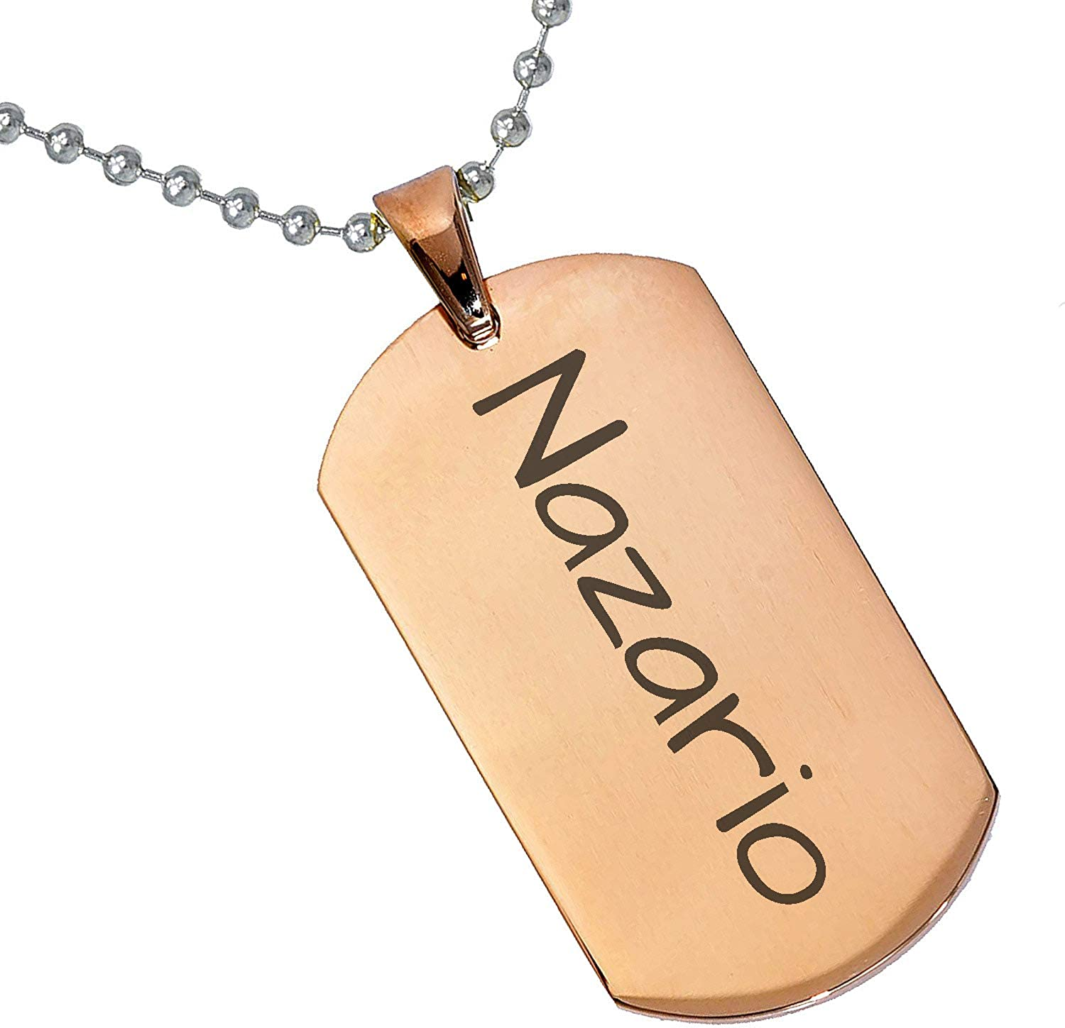 Stainless Steel Silver Gold Black Rose Gold Color Baby Name Nazario Engraved Personalized Gifts For Son Daughter Boyfriend Girlfriend Initial Customizable Pendant Necklace Dog Tags 24 Ball Chain