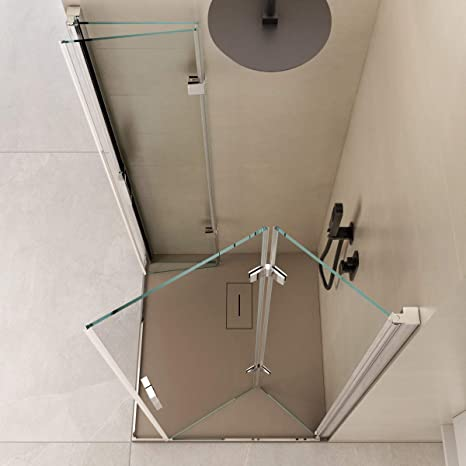 Olimpo - Mampara de Ducha Angular de 190 cm de Altura, 2 Puertas ...