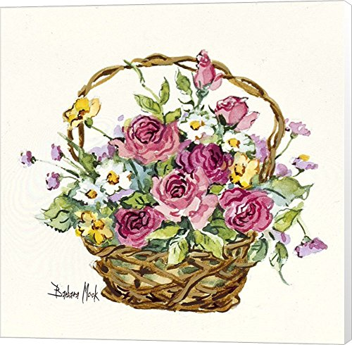 Rose Basket Miniature by Barbara Mock Canvas Art Wall Picture, Museum Wrapped, 24 x 24 inches Barbara Mock Roses