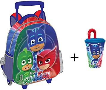 PJ- Masks - Mochila con Trolley - con un vaso con una pajita como regalo