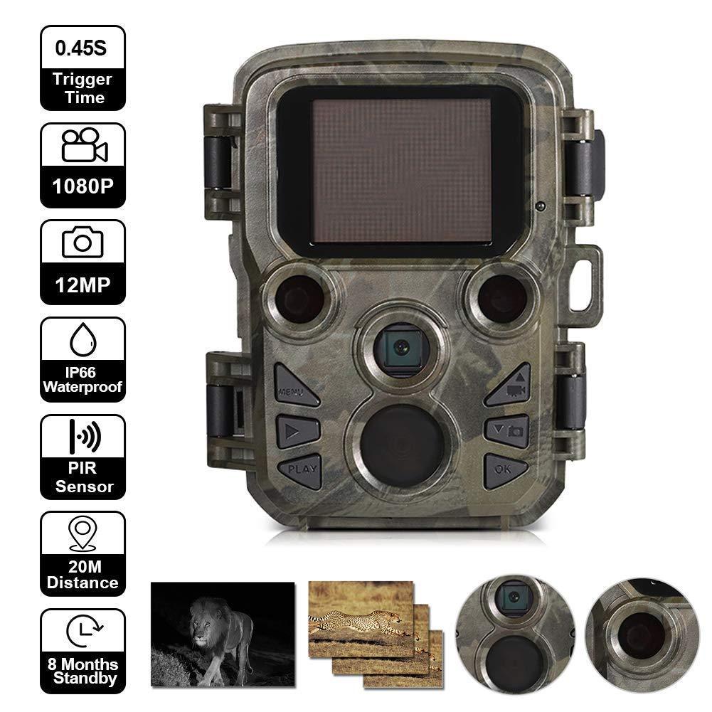 【メーカー再生品】 ミニ狩猟カメラモーションアクティブゲームトレイルカメラ 12mp 1080p ナイトビジョン野生動物カメラスカウトガード IR Led 範囲最大 65ft IP66 防水   B07Q6C48QH, タオル大好き屋 b1f27811