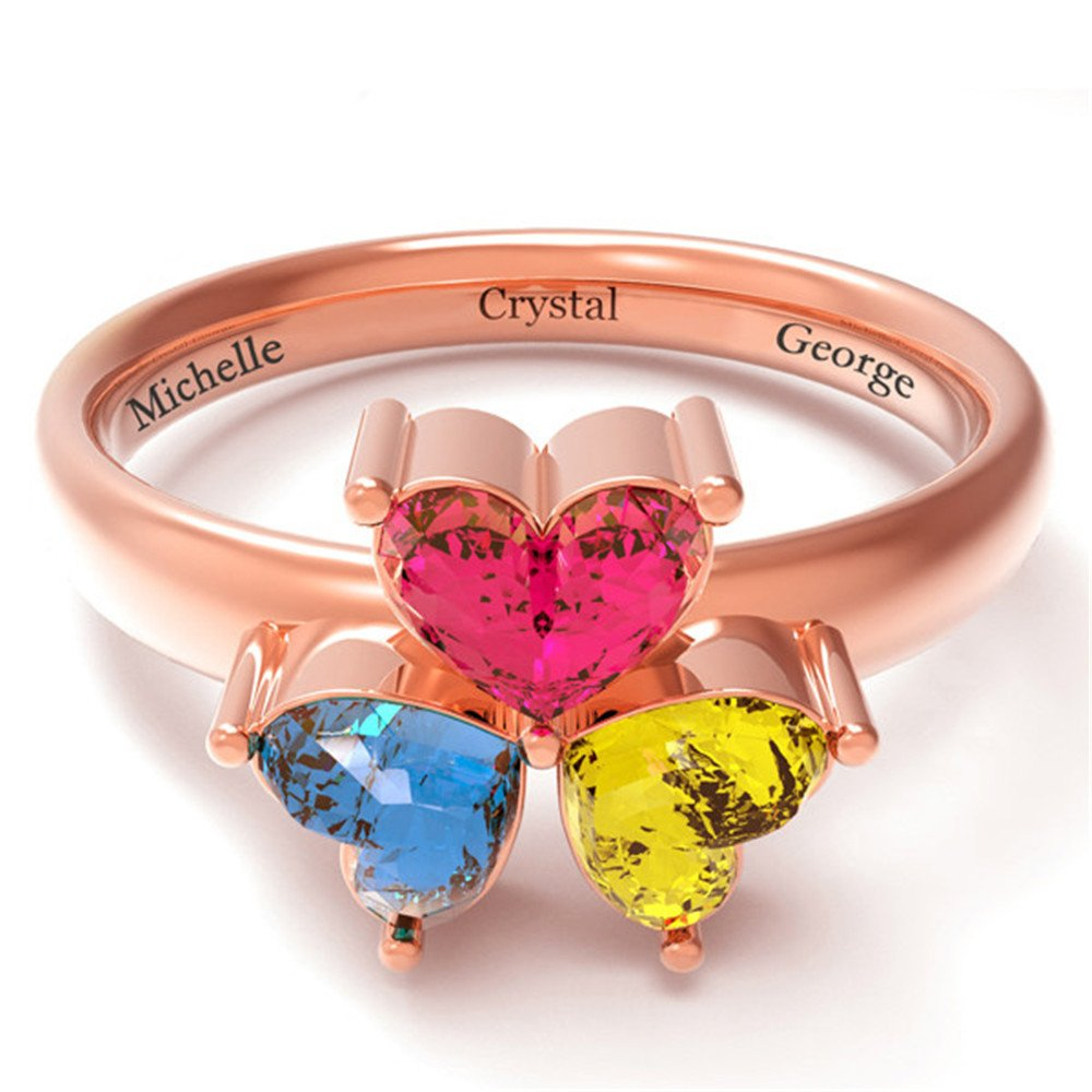 Shiny Alice Personalized Mothers Rings with 3 Simulated Birthstones for Grandmother Mother Anniversary Rings