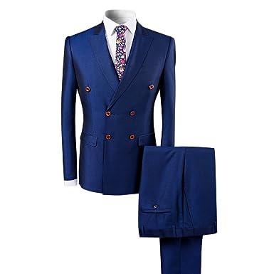 4558168a12d74c Boyland Men's Double Breasted Suit Slim Fit 3 Pieces Peak Lapel Elegant  Vintage Suit Set Black