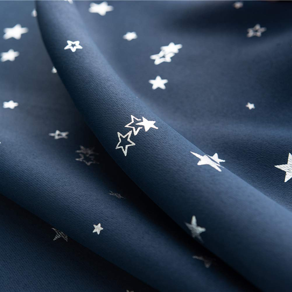 Prosperveil Portable Blackout Blinds Stick on Stars Pattern Window Blackout Curtains for Kids Children Bedroom Nursery Baby Room with Curtain Tie Back Green, 60 x 150 cm