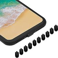 Sakula iPhone Lightning コネクタ用 保護キャップ シリコン iPhone 11 Pro Max/iPhone XS Max/iPhone XR/iPhone X/iPhone 8Plus 対応 Lightningコネクタキャップ ブラック 10個入り