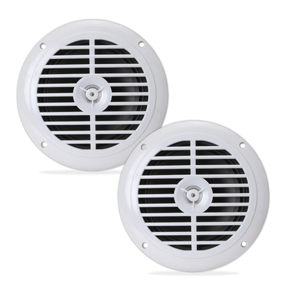 6.5 Inch Dual Marine Speakers - 2 Way Waterproof and Weather Resistant Outdoor Audio Stereo Sound System with 120 Watt Power, Polypropylene Cone and Cloth Surround - 1 Pair - PLMR67W (White)