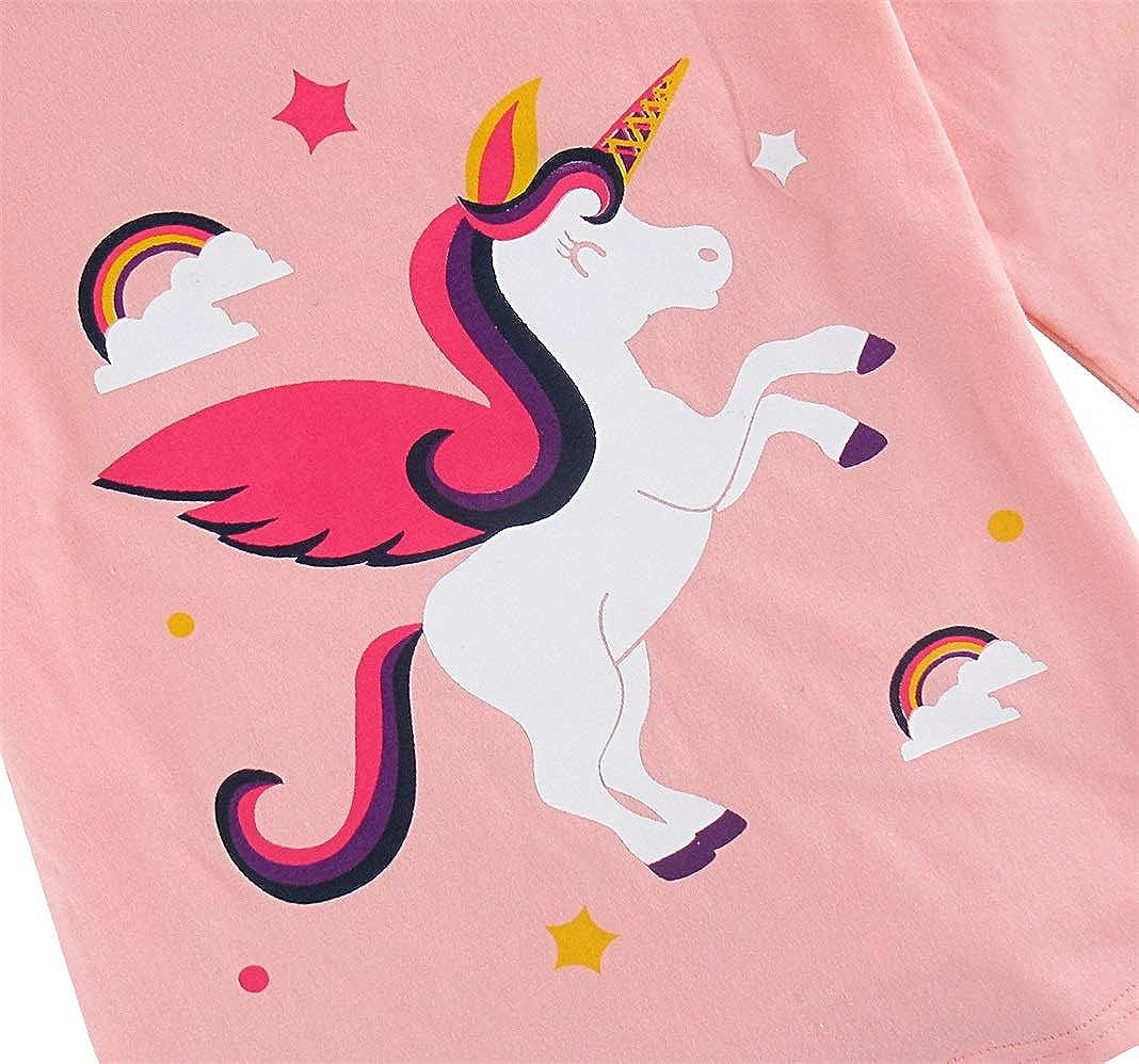 Mombebe Kids Girls Unicorn Pyjamas Set Long Sleeve Sleepwear Size 2-7 Years