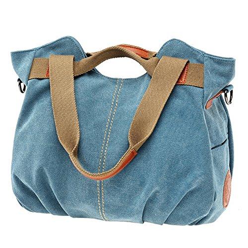 Ladies Top Daily Shoulder Canvas Handle Vintage Casual Tote Shopper Hobo Blue Women's Duofeiya Purse Handbag 8vYqa5c