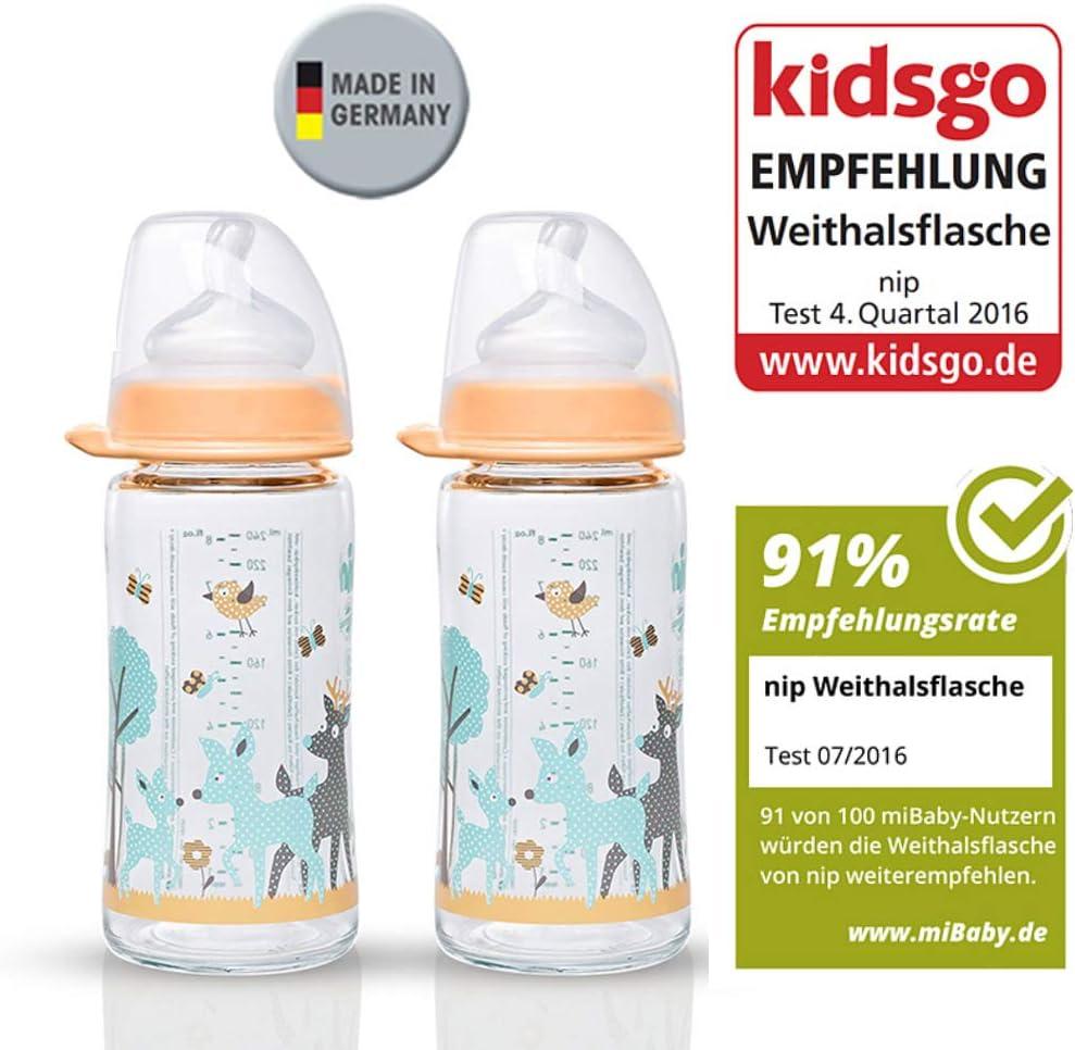 Gr Latte Silicone 0/+ Nip Vasetto in vetro bottiglia bottiglia Lela Mint////set////Biberon in vetro////240/ML////con tettarella anatomica