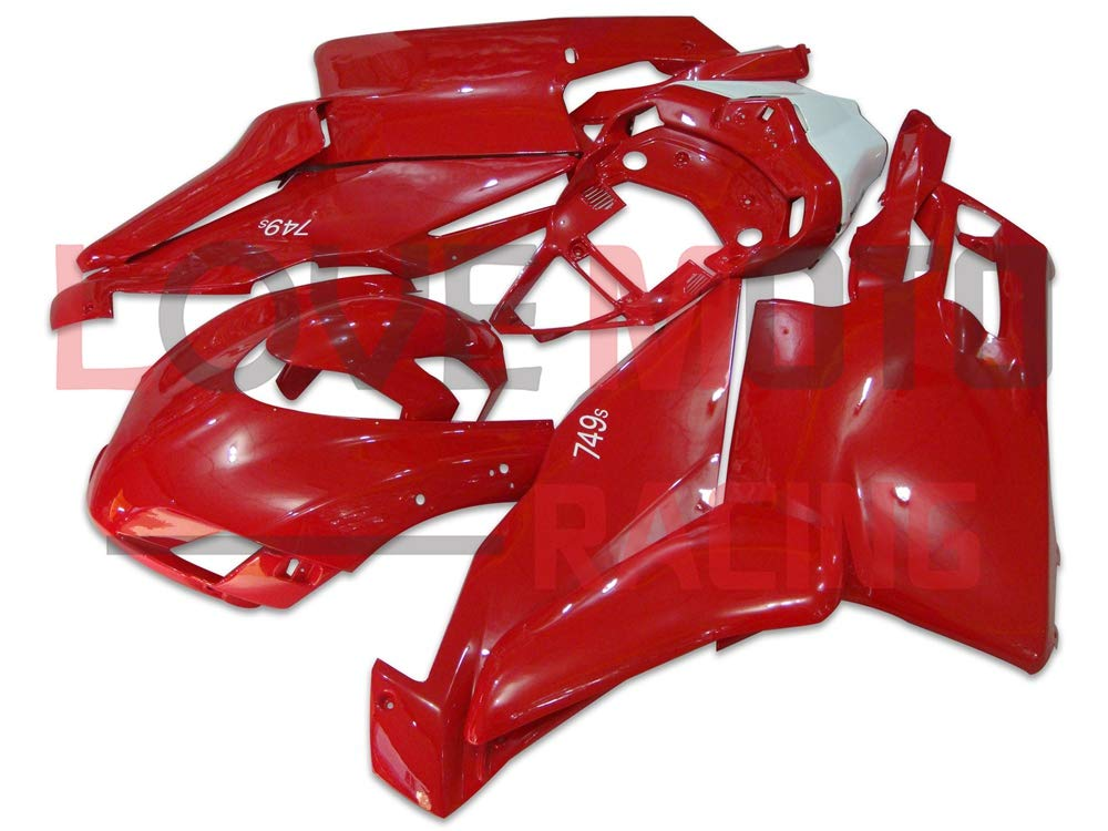 LoveMoto ブルー/イエローフェアリング デュカティ ducati Monoposto 2005 2006 999 749 05 06 ABS射出成型プラスチックオートバイフェアリングセットのキット レッド ホワイト   B07KQ49MWV