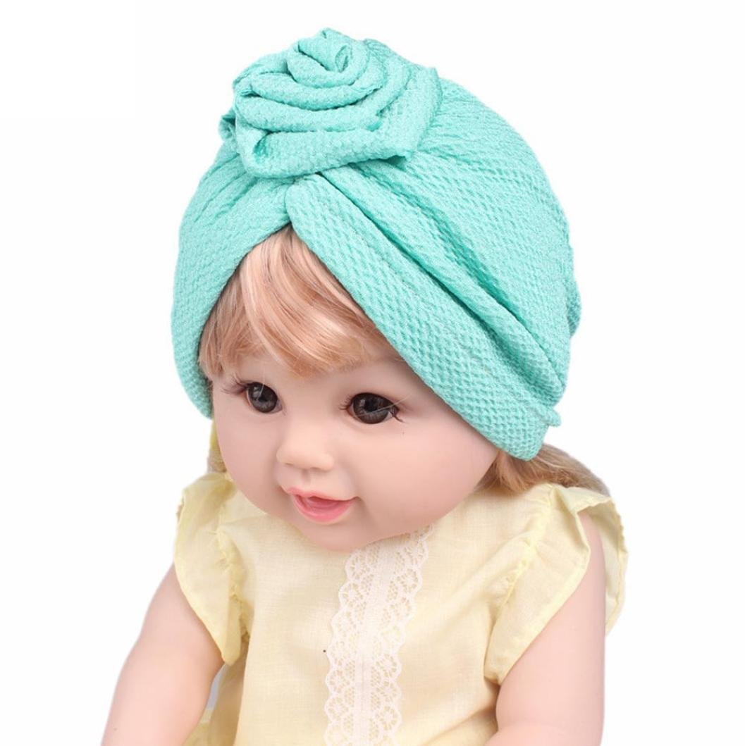 DIGOOD Suit For 3-8 Years Old Kids, Teen Girls Boho Hat Beanie Scarf Turban Head Wrap Cap (Green) by DIGOOD (Image #3)