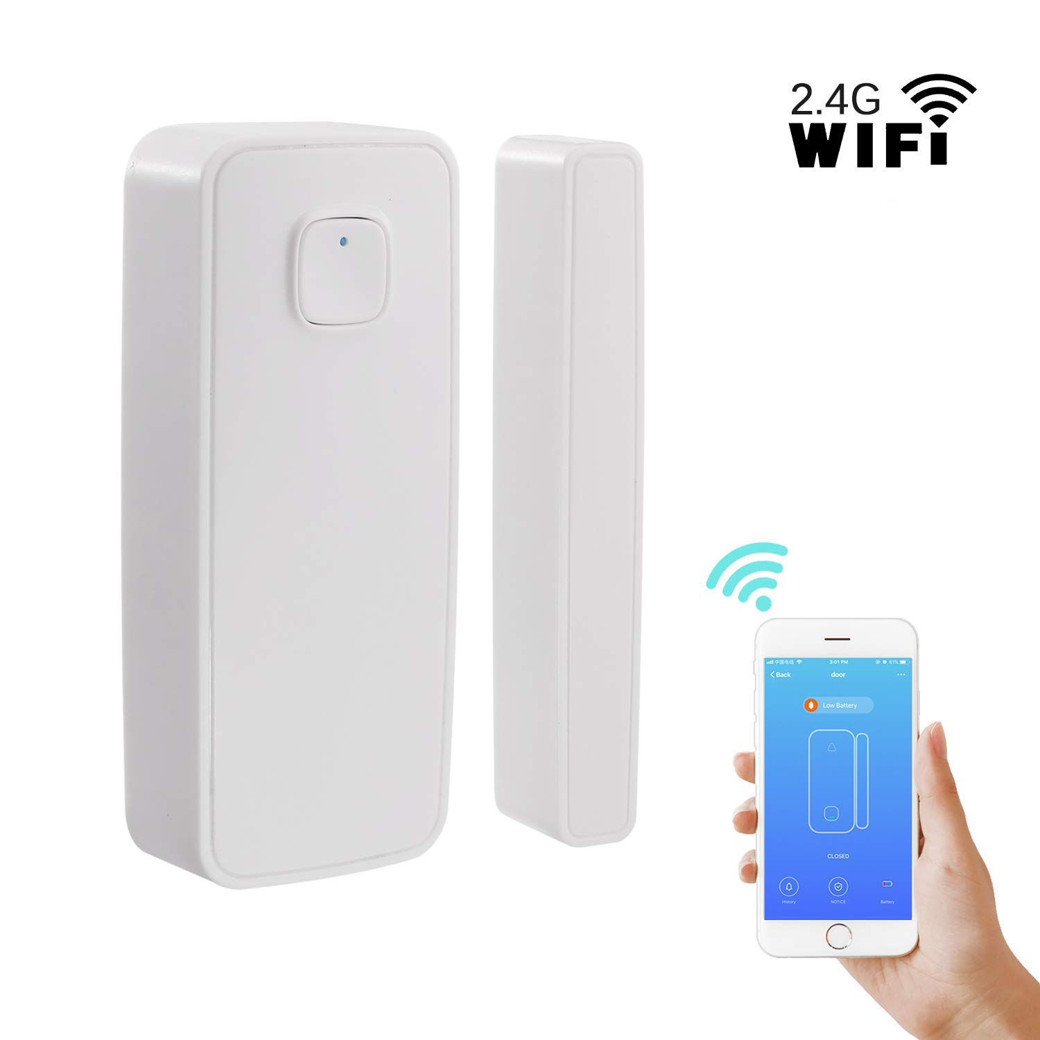Wireless WiFi Door/Window Sensor Notification Reminder, Work with App,  Remote Control, No Hub Required Compatible with Alexa Google Home IFTTT