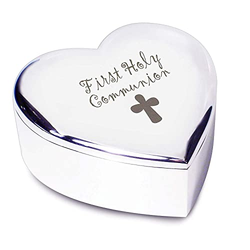 appropriate gift for first communion 1st first holy communion with cross silver finish heart shaped trinket box gift for gift amazoncouk