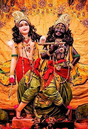 Krishna Radha Iskon Vrindavan Beautiful Picture Wallpaper Poster