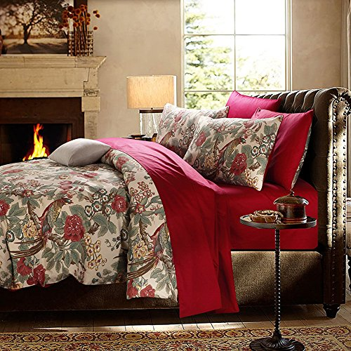 HNNSI Magpie Duvet Cover With Buttons Enclosure, 60s Long Stapled Cotton Luxury American Country Style Home Collections Bedding Sets Full Size (Magpie, Full) by HNNSI (Image #2)