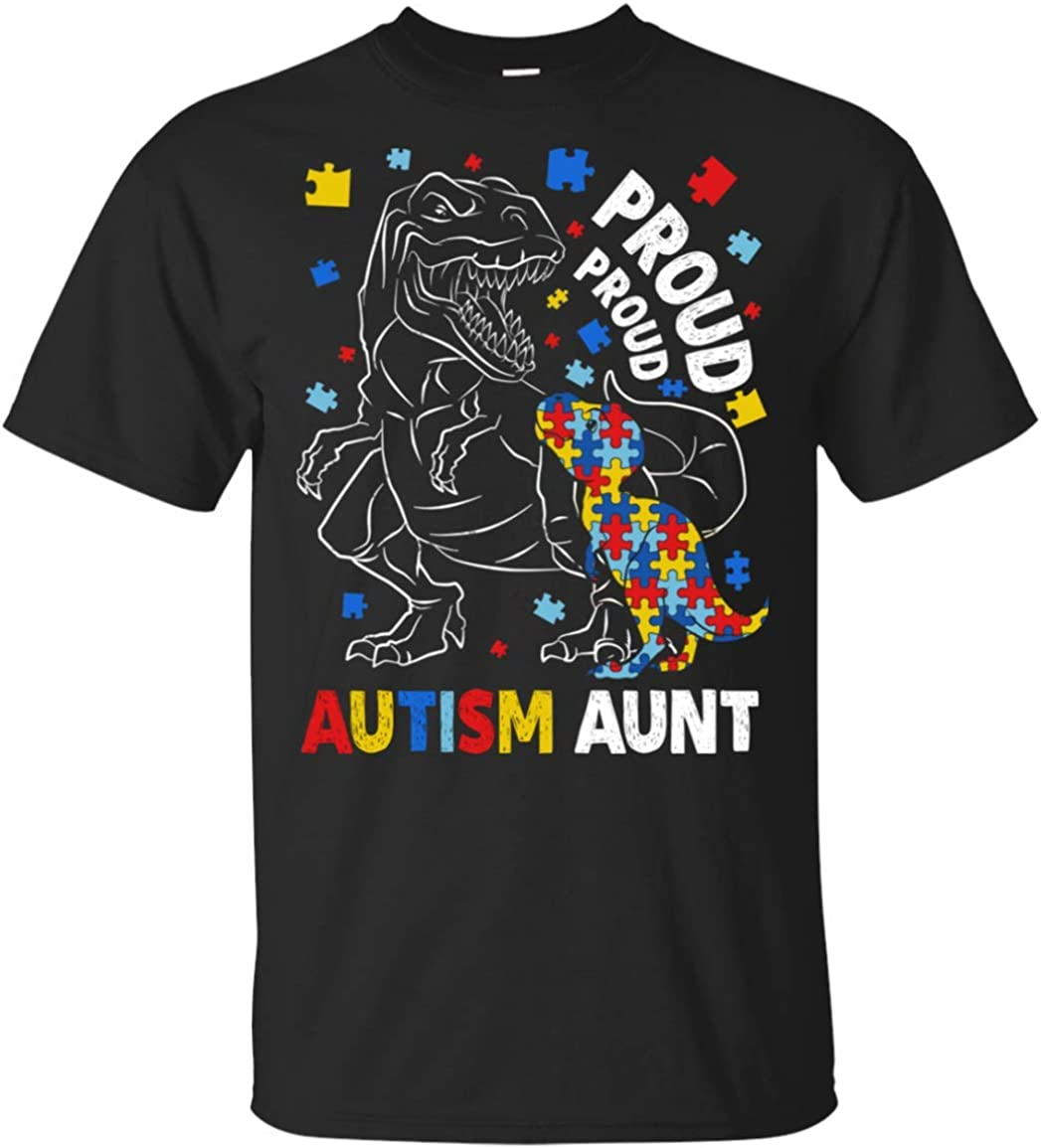 Proud Autism Aunt T-Shirt Dinosaur T-rex Autism Awareness