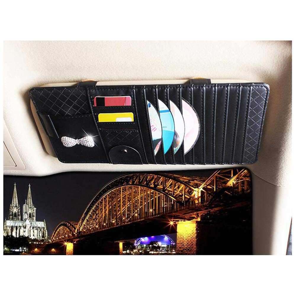 Black Siyibb Car Sun Visor CD Organizer Storage Holder with Bling Bowknot Decor